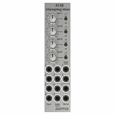 2hp Mix 4 Channel Mixer Module silver faceplate