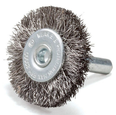 50mm Mounted Crimped Wire Wheel Brush & 5mm Stainless Steel Arbor Stone Metal