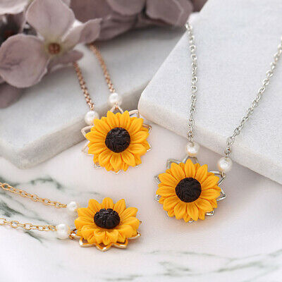 Women Fashion Sunflower Pearl Necklace Pendant Jewelry Sweater Chain Charm Gift
