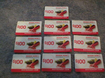 Restaurant.com $1000.00 In Gift Cards-10 One Hundred Dollar Actual Gift Cards