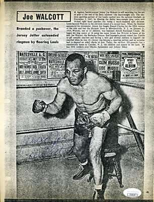 Jersey Joe Walcott Jsa Coa Autograph 8x10 Cover Photo  Hand Signed Authentic