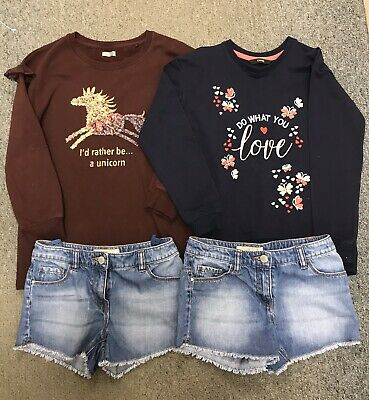 Girls Bundle Outfit Set.Aged 9 Years.From NEXT.Denim Shorts/Tops....