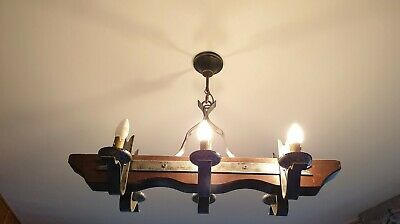 Antique French style Ceiling Light Chandelier Rustic Wrought Iron Wood Heavy