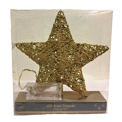 Gold Star Battery Operated LED Christmas Tree Topper Decoration 7.5 Inch New