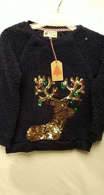 Girls Poof Girl Cool Sequin Reindeer Christmas Lights Shirt Large NWT cozy SOFT