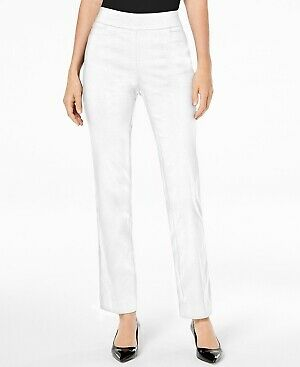 JM Collection Womens Bright White Tummy Control Pull-On Pants Petite Size PS $49