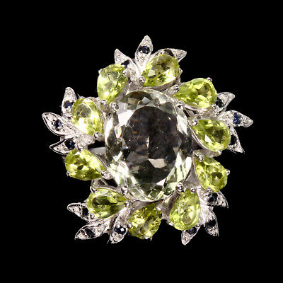 Oval Green Amethyst 14x11mm Peridot Sapphire 925 Sterling Silver Ring Size 9