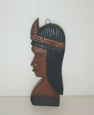AMAZING Native American Figurine Indian Wooden Painted Statue Vintage Sculpture