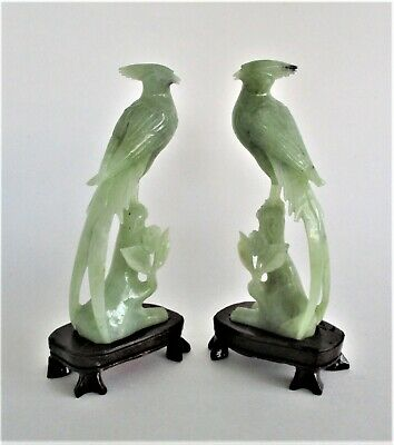 Chinese Jade or Other Hard Stone Bird Carvings Statues on Wood Stands