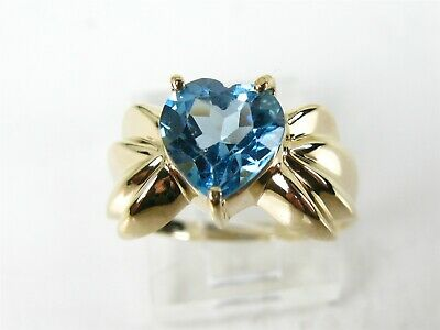 Estate 14k Yellow Gold Natural 1.00ct Blue Topaz Solitaire Ladies Ring 2.6g