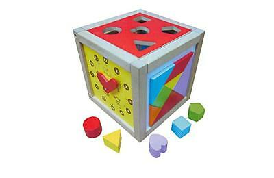 Wooden Activity Cube Baby Toddler 5 in 1 Toy Educational Strong Solid Wood