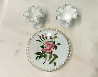 Vintage Hand-Painted Dish with Glass Rim & Two Short Flower Vases - Antique