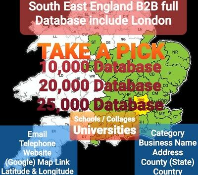 South East England & London B2B Email Database Verified & Up-to-Date 21/01/2020