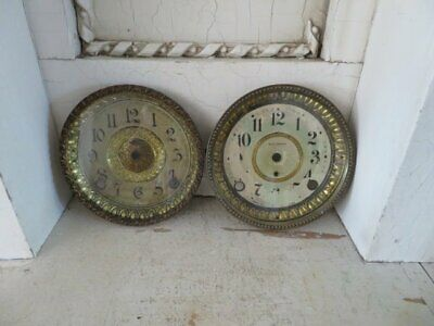 2 FABULOUS Old METAL CLOCK FACES in Embossed Cases Glass Cover Detailed Rims