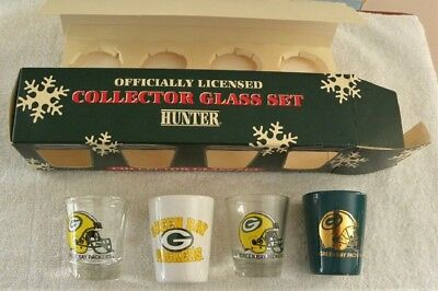 Vintage Green Bay Packers Football Official Collector Shot Glass Set in Box