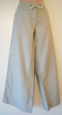 Girls Linen Cotton mix Trousers Age 16 Years New Beige Womens Size 10 12