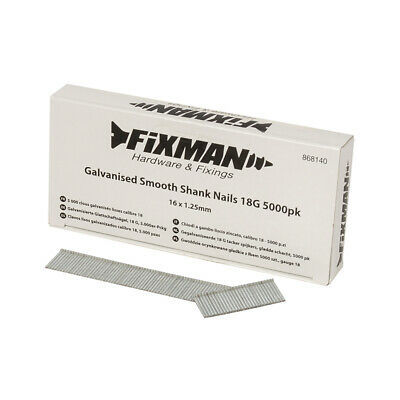 Fixman 868140 Galvanised Smooth Shank Nails 16mm x 1.25mm 18G 5000pk