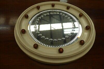 Antique Cut Glass Decorative Art Deco Round Wooden Gesso Frame Bevelled Mirror