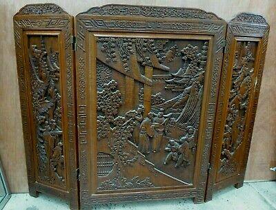 Vintage Ornate Heavily Carved Chinese Wooden Folding Screen Pagoda Cherry Trees