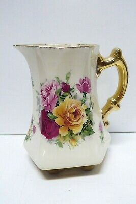 Staffordshire Pottery Gilded Ceramic Rose Decorated Jug