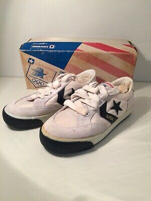 Vintage Old Shop Stock 1984 Olympics Converse Shoes Kids Child's UK 12 Sneakers
