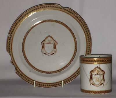 Qianlong Chinese Export Porcelain Marriage Armorial Crested Cup & Plate C 1760+