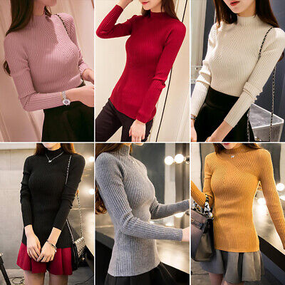 Womens Winter Turtle Neck Sweater Stretch Tops Slim Jumper Long Sleeve Pullover