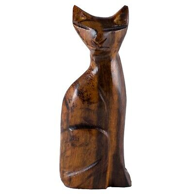 """Unique Hand Carved Ironwood Sitting Cat Figurine Wood Carving 3"""" High"""