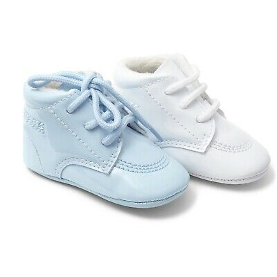 Brand new stunning patent boys soft sole pram shoes in either white or blue