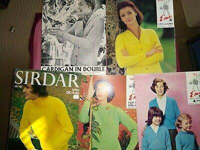 5 Vintage Knitting Patterns - Sweaters , Cardigans