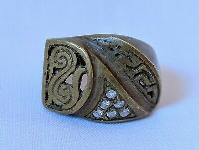 Ancient Vintage-Antique Berber Ring Bronze Old Stuning Stones Extremely Rare