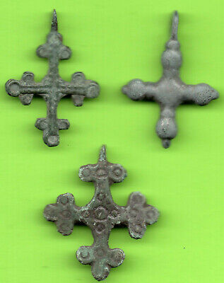 Lot 3 Ancient Viking Enamel Bronze Cross Kiev Russia Ukraine ca 1100 Byzantine 4