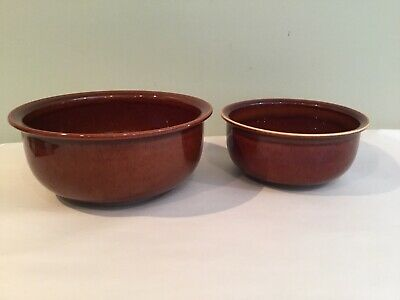 Arabia Finland MCM Large Pottery Nesting Mixing Serving Bowls Set Of 2 Stoneware