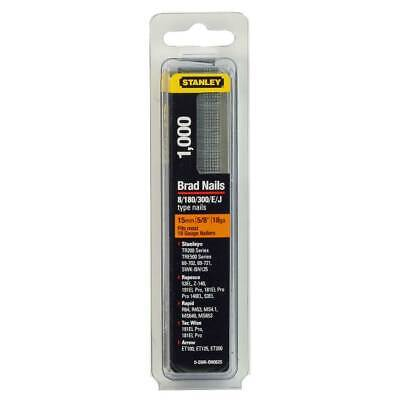 Pack of 1000 15mm Stanley Brad Nails 0-SWK-BN0625 18 Gauge Type 8/180/300/E/J 18