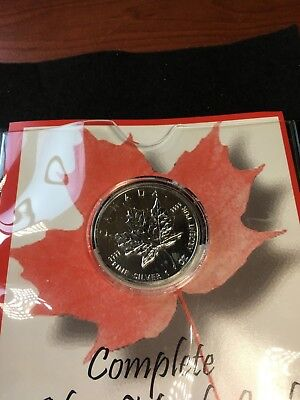 **1990**First Comm. Mint .9999 Silver Canadian Maple Leaf $5 Coin