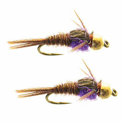 NYMPH-12 1 DOZEN  PHEASANT TAIL AND PURPLE DUBBING NYMPHS FOR FLY FISHING