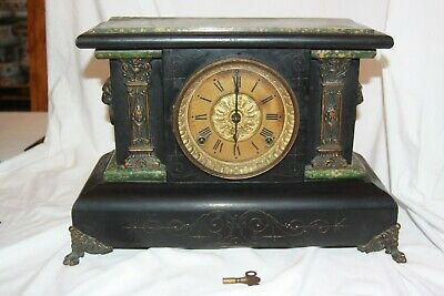 1880 Seth Thomas Mantle Clock Lion Head Handles Chiming