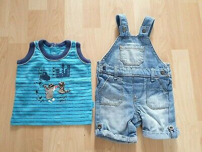 F&F Baby Boys Blue Denim Dungarees and Vest Age 3-6 Mth