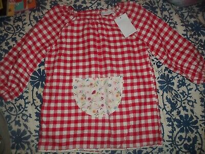 The Little White Company girls gingham painting smock NEW one size