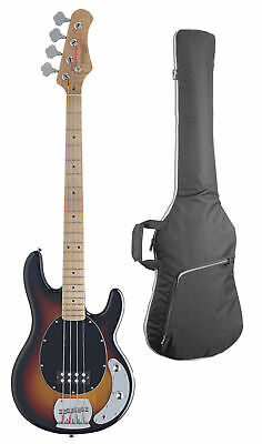 Stagg 4-String Slap Electric Bass Guitar w/ Gig Bag - Sunburst