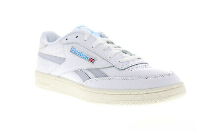 Reebok Club C Revenge MU Mens White Leather Low Top Lace Up Sneakers Shoes