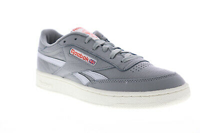 Reebok Club C Revenge MU Mens Gray Leather Low Top Lace Up Sneakers Shoes