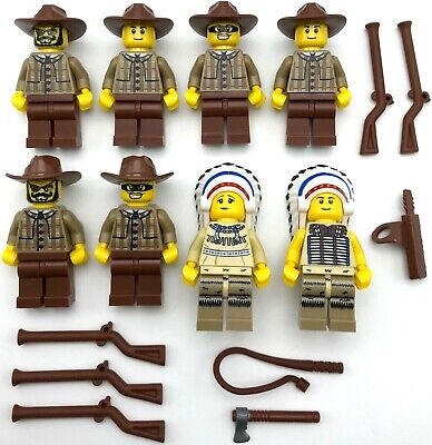Lego 8 New Cowboy And Native American Indian Minifigures Western Men And Weapons