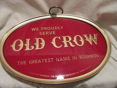 Vintage Rare Old Crow Bourbon Whiskey Reverse-On-Glass Sign