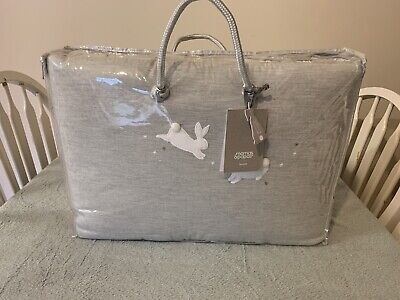 Bnib Mamas & Papas Unisex Cot Bumper 'Welcome To The World' Grey/White Bunnies