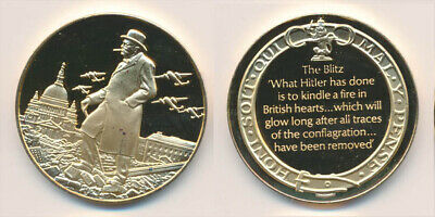 Great Britain: Churchill 1940 at The Blitz 25.6g Gilt Sterling Silver Medal