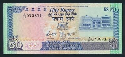 """Mauritius: 1986 50 Rupees """"WITH IMPRINT"""". Pick 37a UNC"""