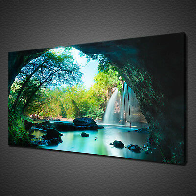 Beautiful Cave In The Green Forest Waterfall Canvas Print Wall Art Picture Photo
