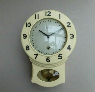 VINTAGE 1950s SMITHS BAKELITE MECHANICAL KITCHEN WALL CLOCK - WORKING - 8 DAY