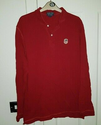 RALPH LAUREN Polo Jeans Company Red Long Sleeved T-Shirt Men's Large USA FLAG
